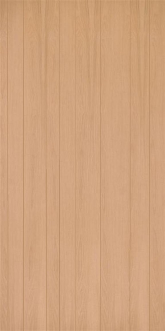 Sample red oak veneer random plank (9-groove) plywood paneling