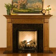 The fireplace mantel in oak