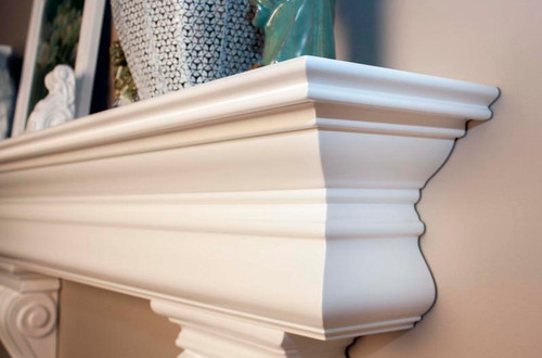The crown molding on the Clanton shelf is exquisite (corbels optional)