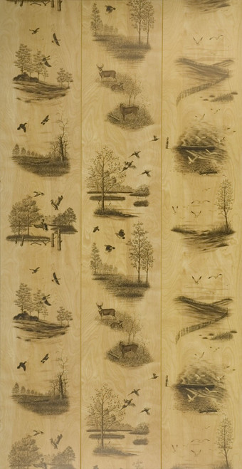 """Full 4 x 8 Sheet of Nature's Woods Wall Paneling.  Grooves every 16"""" and randomly placed nature scenes.  Deer and Duck paneling"""