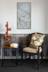 Weathered gray pallet paneling cut down to use as wainscot