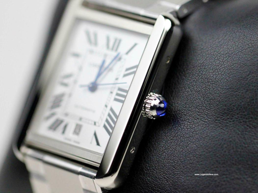 Cabochon Crown & Steel Bezel /Case - Cartier Watch - Tank Solo XL Stainless Steel Bracelet W5200028 - New - www.Legendoftime.com - Chicago Watch Center