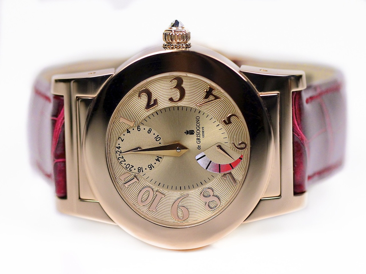 Stunning Ladies de Grisogono Watch done in solid Rose Gold on a Burgundee Leather Strap and Deployment Buckle - Tondo RM N52/A  - Legend of Time - Chicago Watch Center