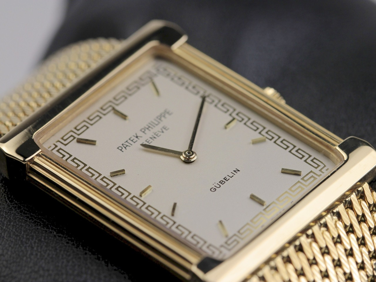 "Dial Detail - Vintage Patek Philippe Rectangular Gubelin Gold ""Les Grecques"" 3775 - www.Legendoftime.com - Chicago Watch Center"
