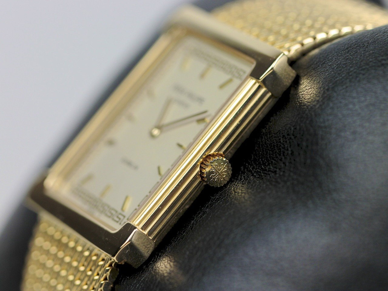 "Crown - Vintage Patek Philippe Rectangular Gubelin Gold ""Les Grecques"" 3775 - www.Legendoftime.com - Chicago Watch Center"