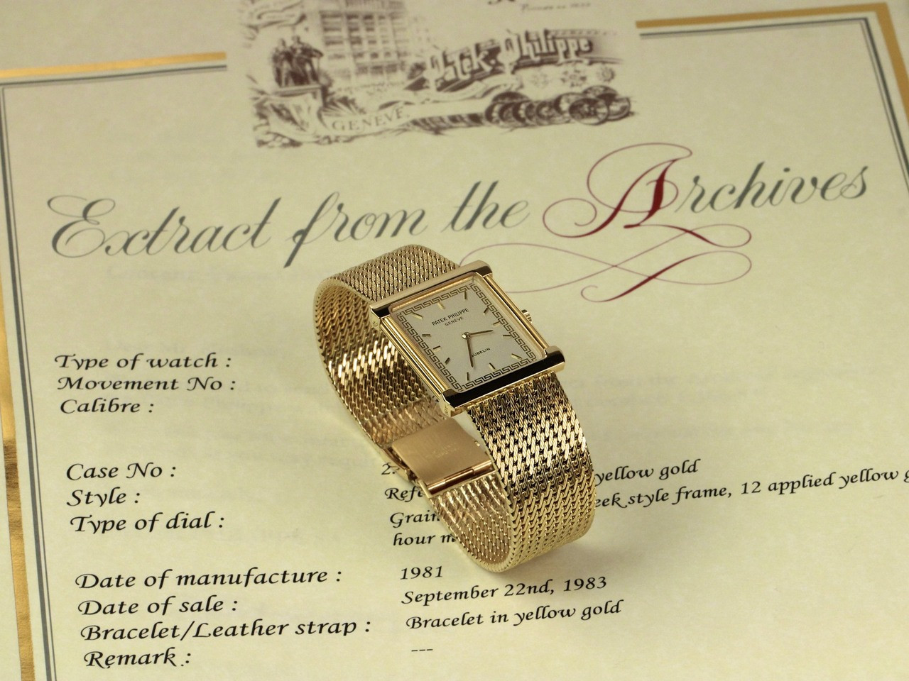 "Archival Certificate from - Vintage Patek Philippe Rectangular Gubelin Gold ""Les Grecques"" 3775 - www.Legendoftime.com - Chicago Watch Center"