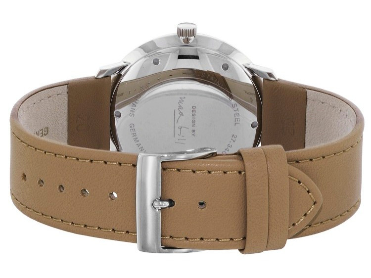 Tan Leather strap with tang buckle - Junghans Max Bill Automatic 027/3401.00 New - www.Legendoftime.com - Chicago Watch Center