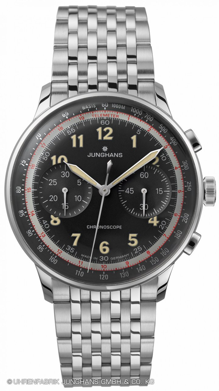 Junghans Watch Meister Telemeter 027/3381.44 Black Dial and Stainless steel bracelet available for sale online - www.Legendoftime.com and in store - Chicago Watch Center