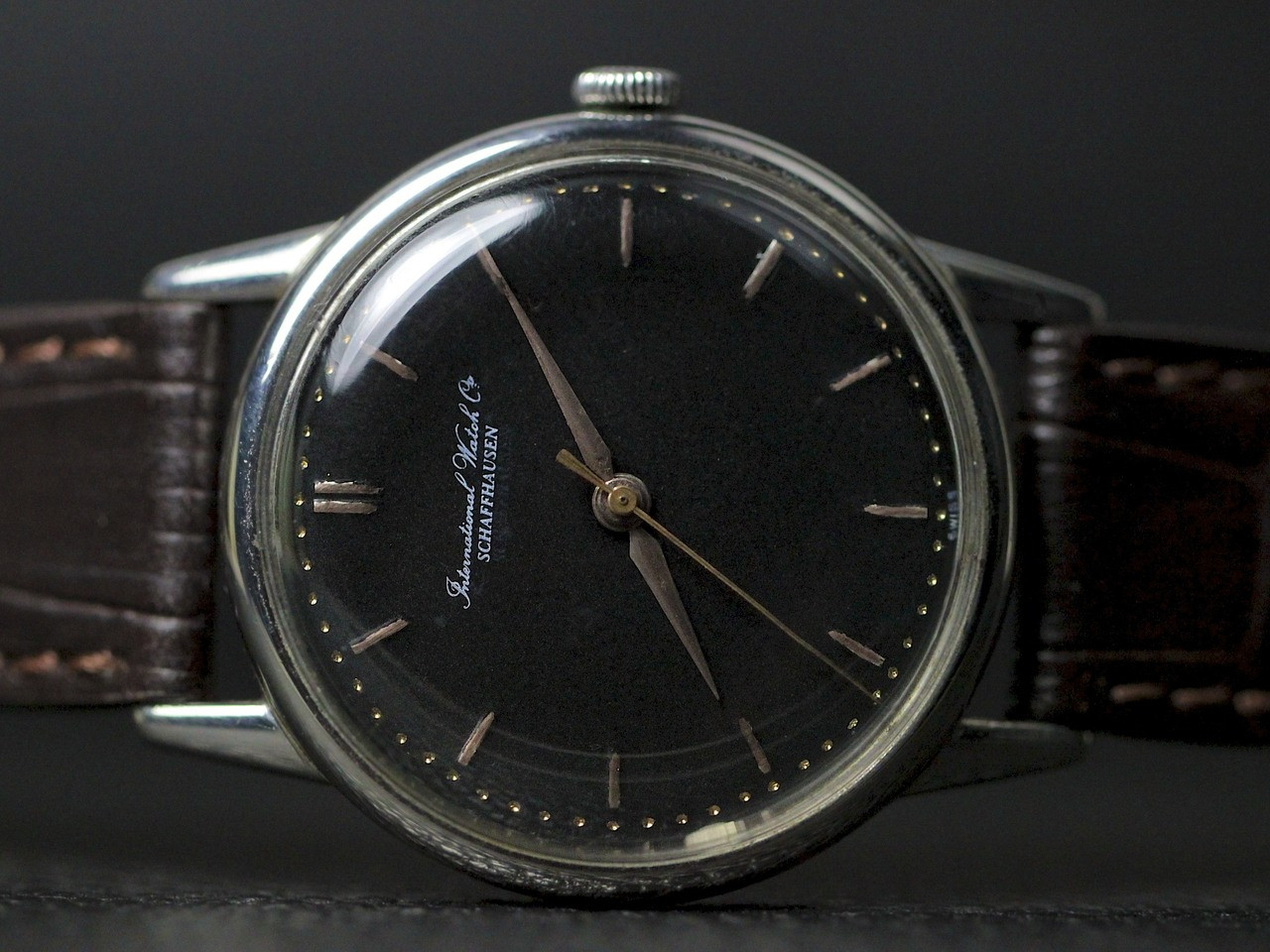 Dial Close-up - Vintage IWC watch - Vintage Black Dial  - www.Legendoftime.com - Chicago Watch Center