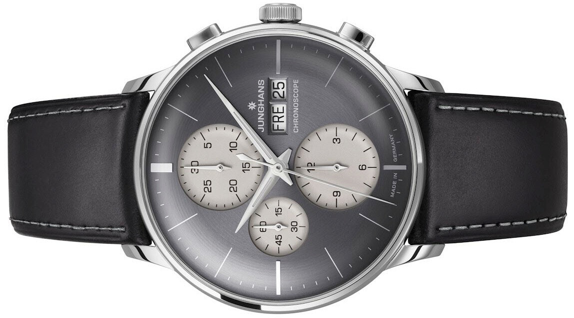 New Junghans Watch Meister Chronoscope gray dial Day Date 027/4525.01available to buy online www.Legendoftime.com and in store Chicago Watch Center
