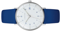 New  Junghans Watch Max Bill Ladies 047/4540.00 white dial blue numerals and blue leather strap, modern clean timepiece - Available for sale online www.Legendoftime.com and in store Legend of Time - Chicago Watch Center