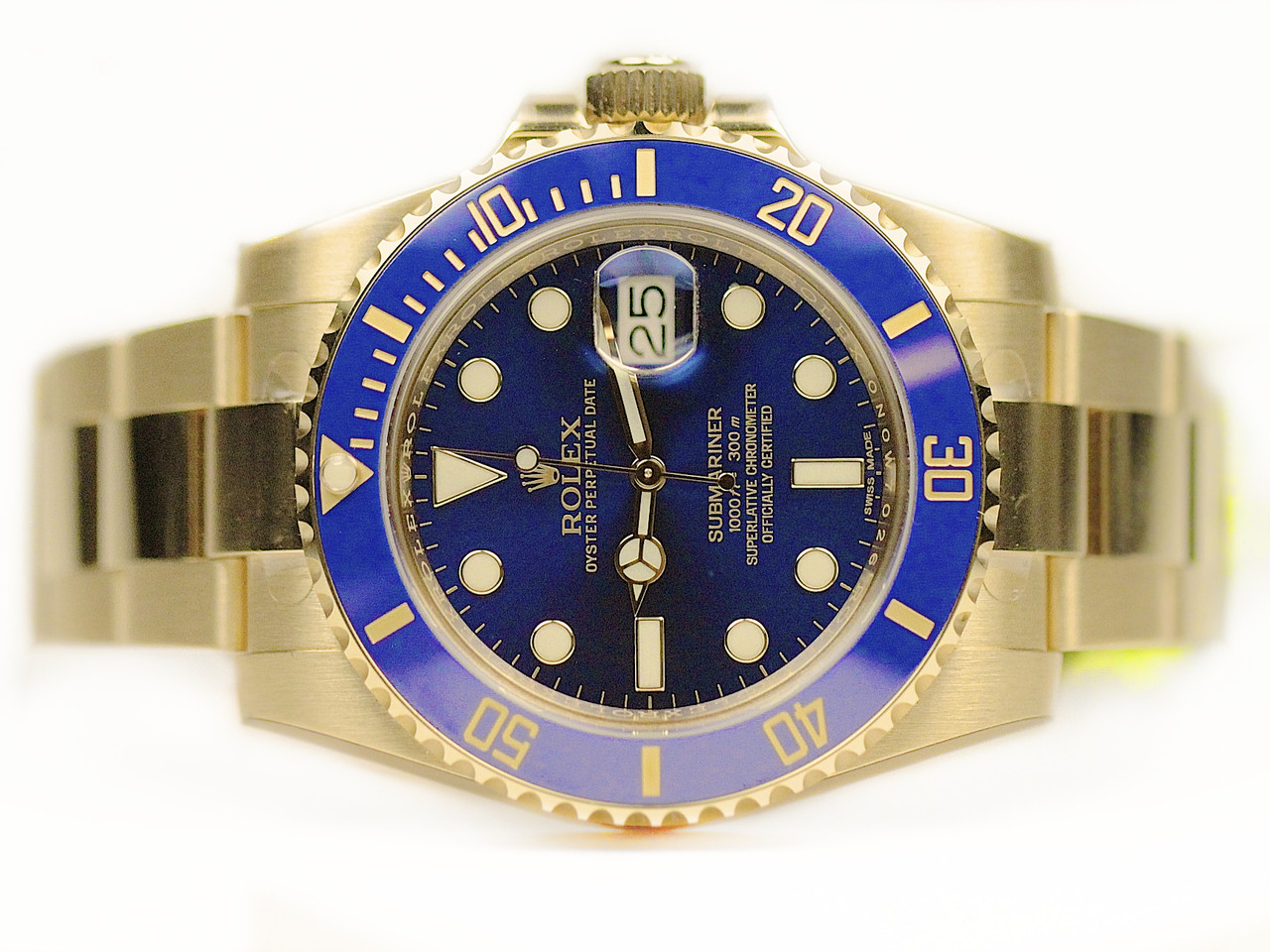Rolex Watch Blue 18ct Yellow Gold Submariner 116618lb New For Sale