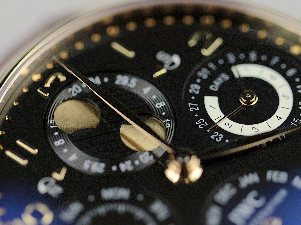 Dial details - Double Moonphase Indicator for both Southern and Northern Hemispheres - IWC Watch - Portuguese Perpetual Calendar Rose Gold IW502119 - Legend of Time - Chicago Watch Center