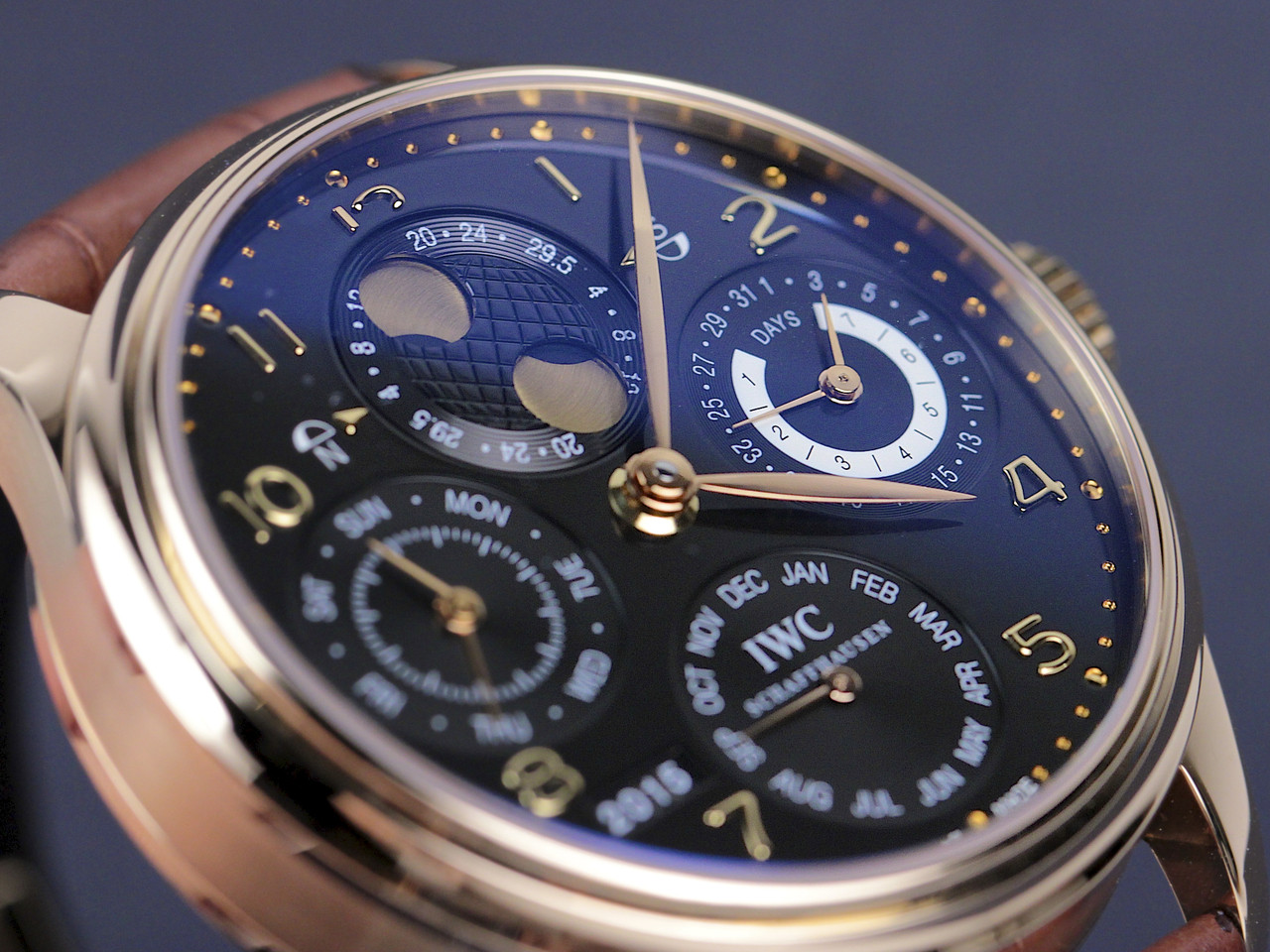 Dial detail - IWC Watch - Portuguese Perpetual Calendar Rose Gold IW502119 - Legend of Time - Chicago Watch Center