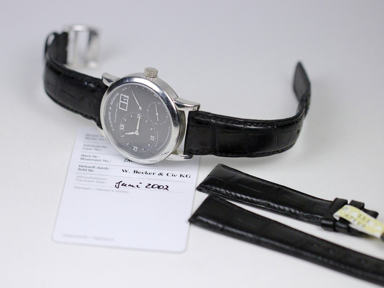 Warranty Card & New Leather strap - A Lange & Sohne Watch - Lange 1 Black Darth Dial 101.035 pre-owned for sale Legend of Time - Chicago Watch Center