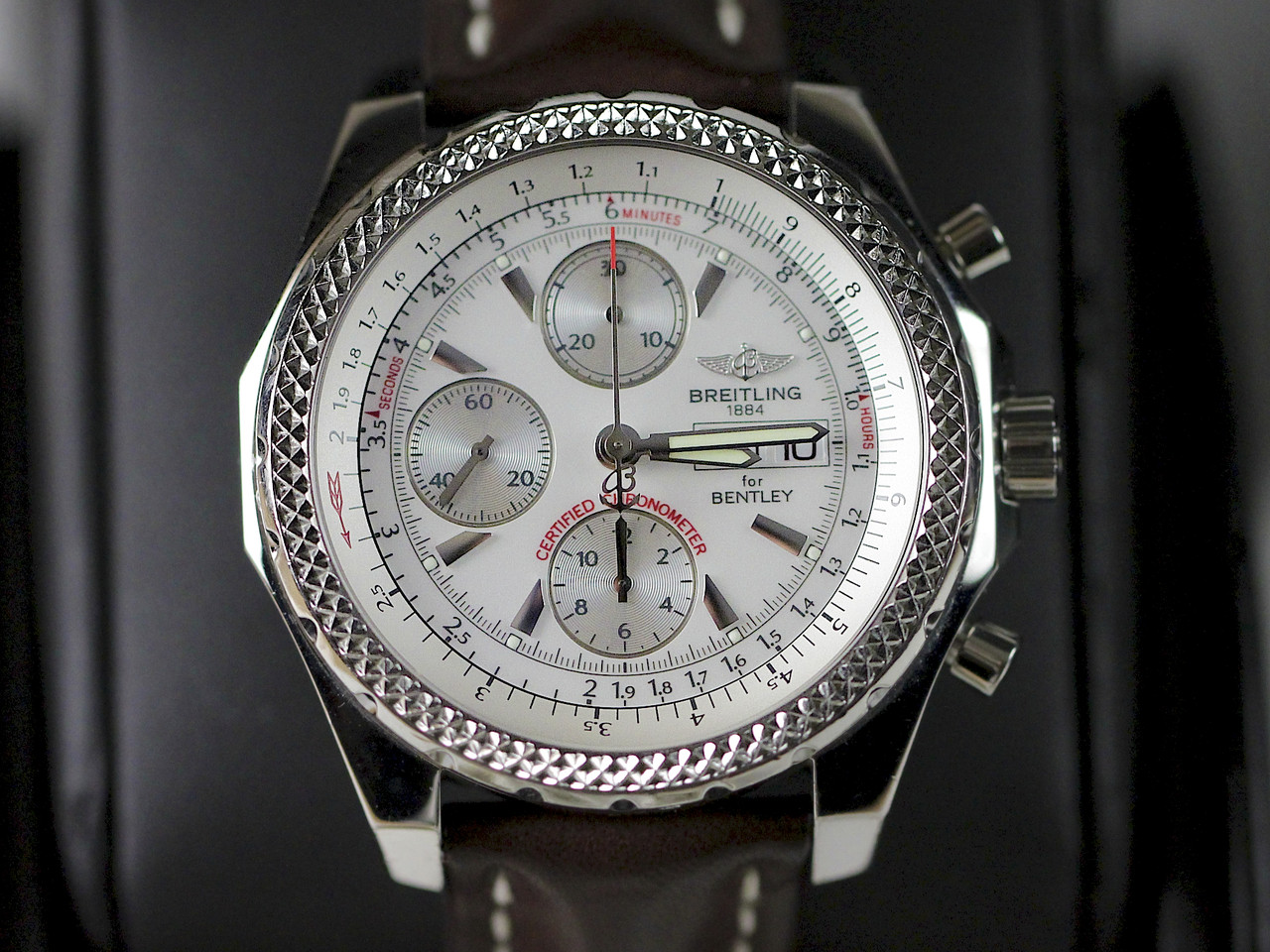 Dial Close-Up - For sale pre-owned Breitling Watch - Breitling for Bentley GT A13362 available online www.Legendoftime.com and in store Chicago Watch Center