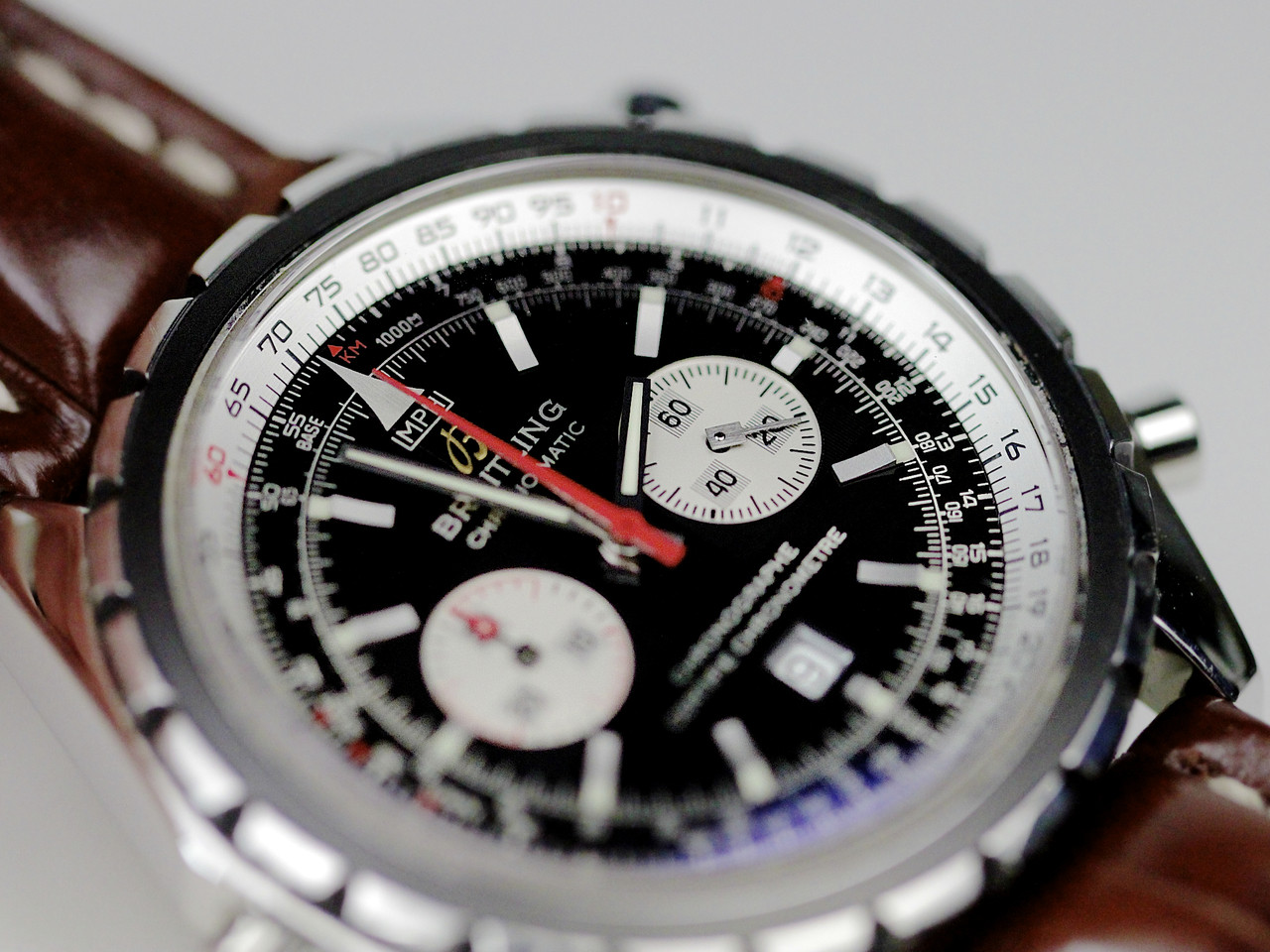 4f4d04df9 ... Breitling Watch - Chrono-Matic Chronograph A41360 with Black · Black  Dial with two silver sub-dials, red chronograph hand - For sale Pre ...