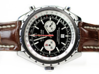 For sale Pre-Owned Steel Breitling Watch - Chrono-Matic Chronograph A41360 with Black Dial and Brown Leather strap
