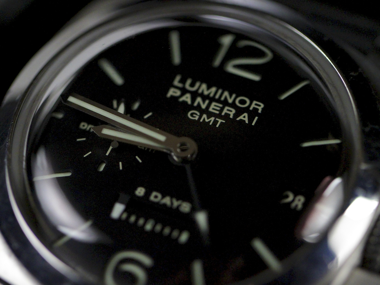 Dial Picture- Pre-Owned Panerai Watch - Luminor 1950 8 Days GMT Acciaio PAM00233 - for sale online and instore Legend of Time - Chicago Watch Center