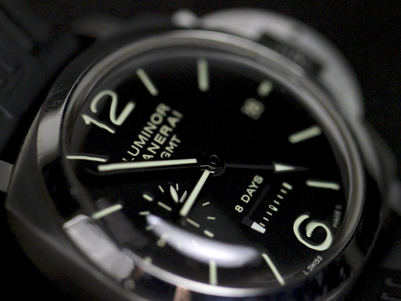 Dial Detail - Pre-Owned Panerai Watch - Luminor 1950 8 Days GMT Acciaio PAM00233 - for sale online and instore Legend of Time - Chicago Watch Center