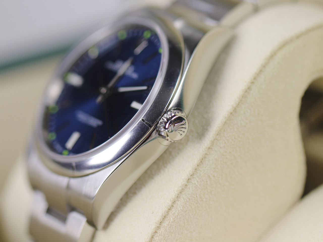 Crown Detail - Rolex Watch - Oyster Perpetual 39 Blue 114300 - New for sale online www.Legendoftime.com and in store Legend of Time - Chicago Watch Center