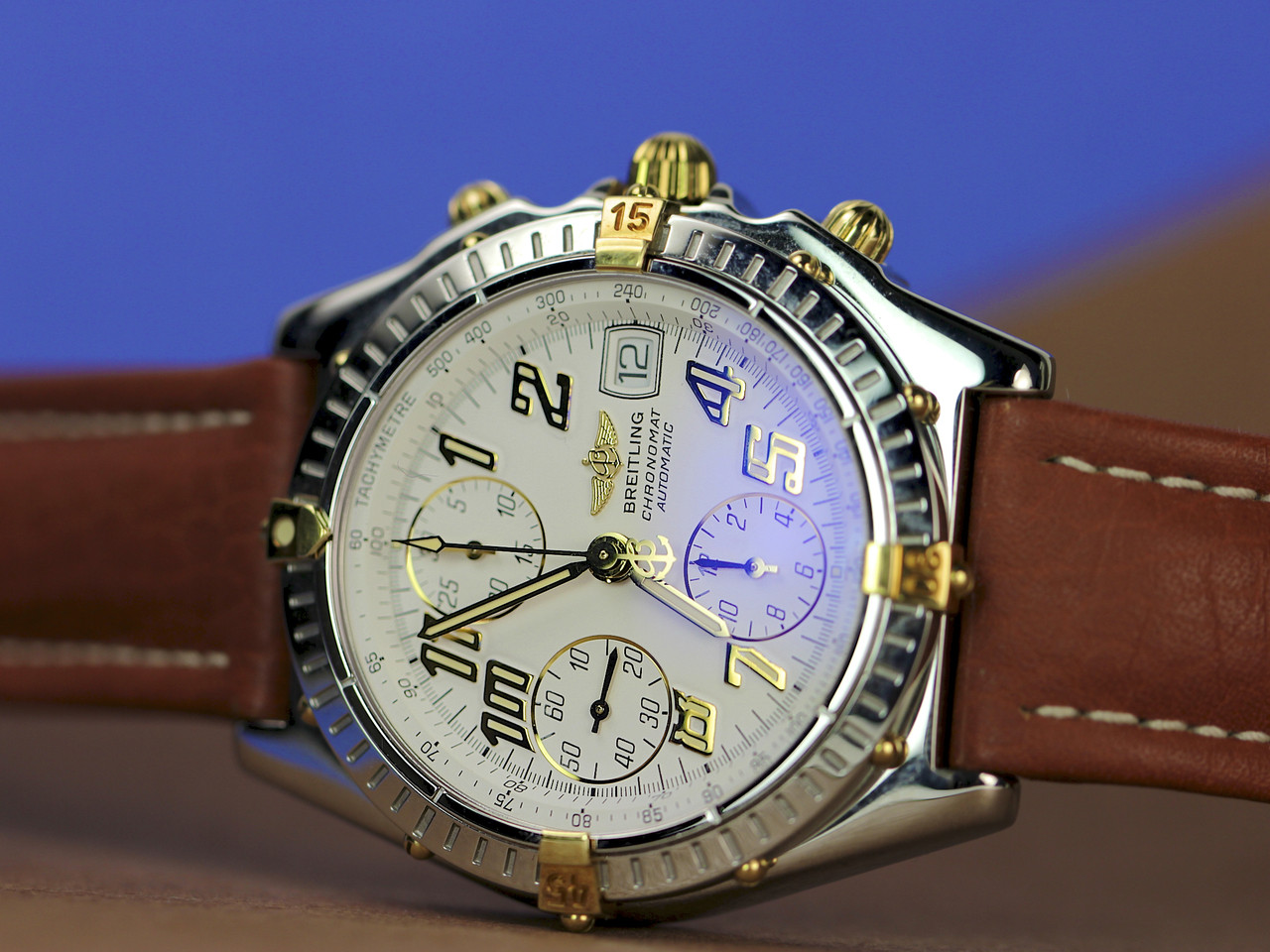 For sale pre-owned Breitling Watch - Chronomat 18kt/Steel b13050.1 available online and in store www.Legendoftime.com - Chicago Watch Center