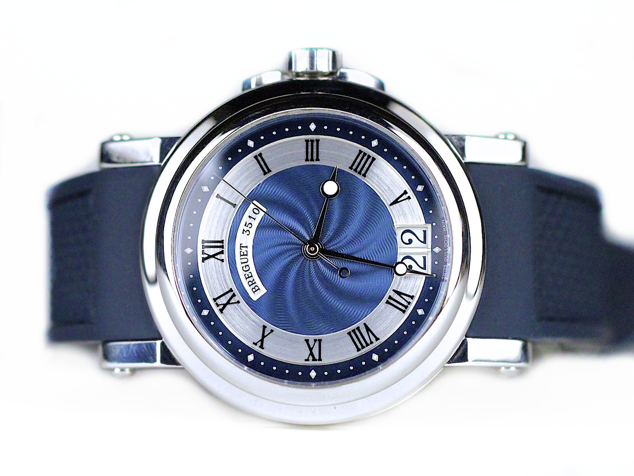 Breguet watch marine steel blue dial blue rubber strap 5817 used for sale from legend of time for Marine watches
