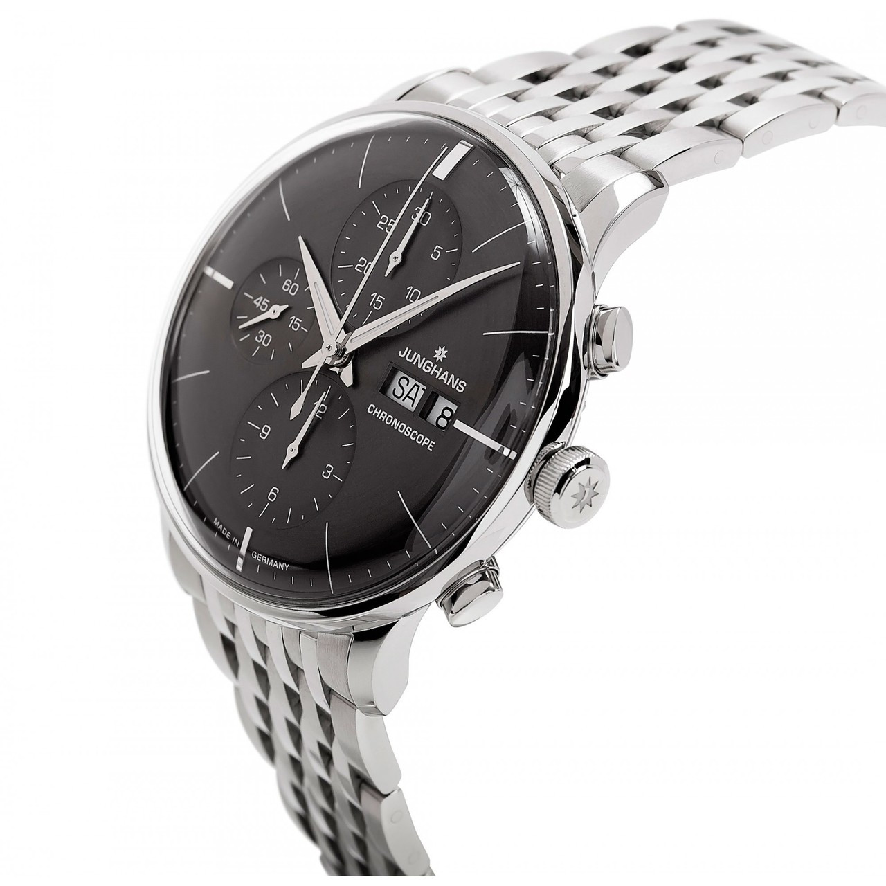 For sale Junghans Watch Meister Chronoscope Sunray Dark Grey Dial Day Date Steel Bracelet 027/4324.45 New, online www.Legendoftime.com and in store Legend of Time - Chicago Watch Center.