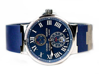 For sale pre-owned Ulysse Nardin Watch Marine Chronometer Blue Roman Numerals 263-67-3/43, in stock at Legend of Time Chicago Watch Center and online www.Legendoftime.com