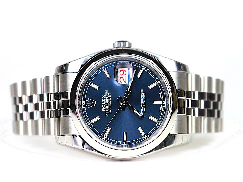 Rolex watch datejust 36 blue dial steel jubilee bracelet 116200 new from legend of time chicago for Rolex date just 36