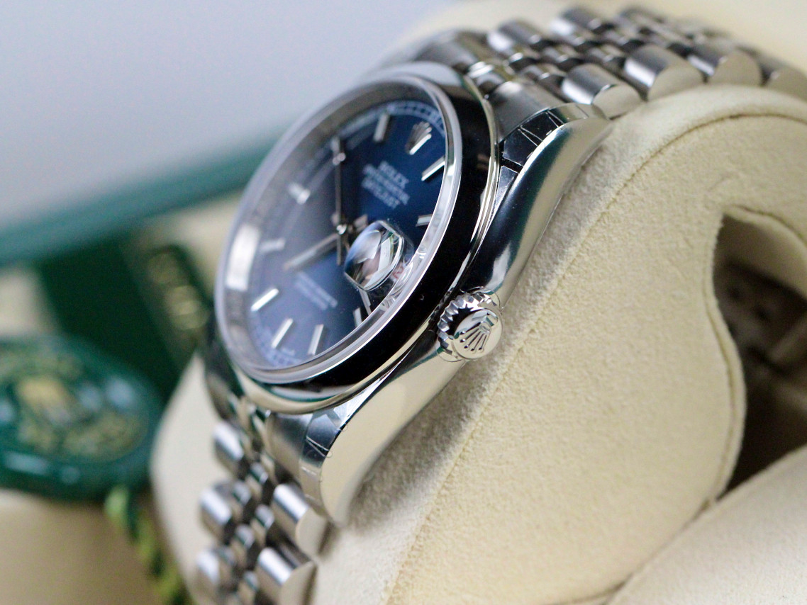 For sale new Rolex Watch Datejust 36 Blue Dial Steel Oyster Bracelet reference #116200 BLSO, available online www.Legendoftime.com and in store Chicago Watch Center 3 S Wabash Ave, Chicago IL 60603