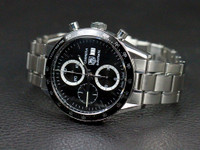 For Sale used stainless steel Tag Heuer Watch Carrera Automatic Chronograph reference # CV2010.BA0794 with black dial and bezel, available online www.Legendoftime.com and in store Chicago Watch Center