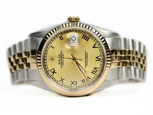 For sale used Rolex Watch - Datejust 36mm Yellow Gold and Steel Jubilee Bracelet Champagne Dial 16233 available in store at Legend of Time - Chicago Watch Center and online www.Legendoftime.com