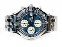 Used Breitlling Watch - Chronomat Automatic Steel Blue Dial A13050.1 Chronograph date for sale Legend of Time - Chicago Watch Center