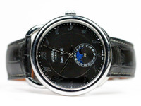 Used Hermes Arceau Grande Luna Complete Calendar AR8.810 for sale by Legend of Time Black Dial Steel Leather Strap Dress Luxury Watch