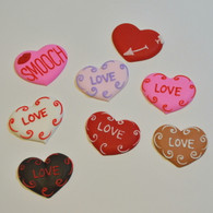 "1.5"" Royal Icing Assorted Valentines Hearts (10 per box)"