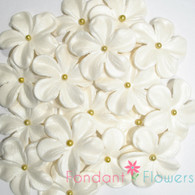 "1.5"" Charming Blossom - White w/ Gold Dragee (10 per box)"