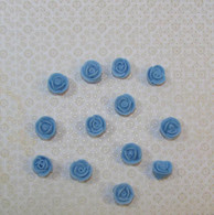 ".5"" Mini Classic Royal Icing Rose -  Pastel Blue (40 per box)"