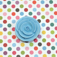 "1"" Small Classic Royal Icing Rose -  Pastel Blue (10 per box)"
