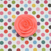 "1"" Small Classic Royal Icing Rose -  Coral (10 per box)"