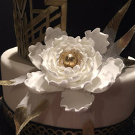 "4"" Peony - Large - White with Gold Center (Sold Individually)"