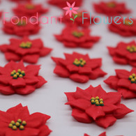 "1.5"" Royal Icing Poinsettia - Medium - Red (24 per box)"