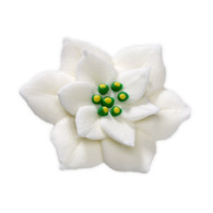 "1.5"" Royal Icing Poinsettia - Medium - White (24 per box)"