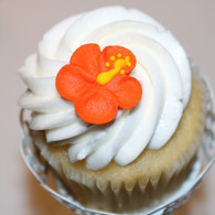 "1"" Royal Icing Hibiscus Flowers - Orange (20 per box)"