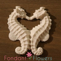 "Kissing Seahorses - Gumpaste 3.5"" (sold individually) Pearl White"