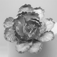 "4"" Garden Peony - Large - Silver (Sold Individually)"