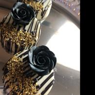 "1-1/8"" Rose w/ Calyx - Petite - Black (set of 12)"