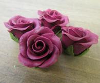 "1-1/8"" Rose w/ Calyx - Petite - Burgundy (set of 12)"
