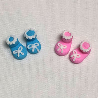 Royal Icing Baby Booties 24 booties - Assorted Blue & Pink (12 PAIR per box)