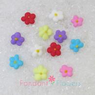 "3/8"" Royal Icing Drop Flowers - Mini - White (100 per box)"